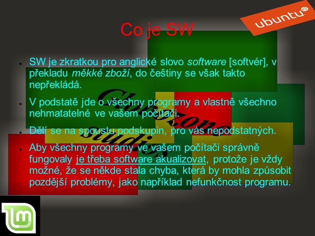 Co je SW SW je zkratkou pro anglické slovo software [softvér], v překladu měkké zboží, do češtiny se však takto nepřekládá.